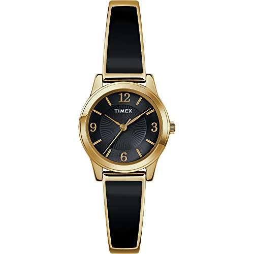 (Timex Women's TW2R92900 Stretch Bangle 25mm Black/Gold-Tone Expansion Band Watch)