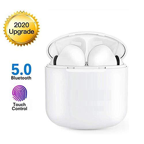 🥇 Bluetooth 5.0 Deportes inalámbricos Auriculares estéreo Bluetooth con micrófono Cascos con cancelación de Ruido Caja de Carga IPX5 a Prueba de Agua I12 Sudor