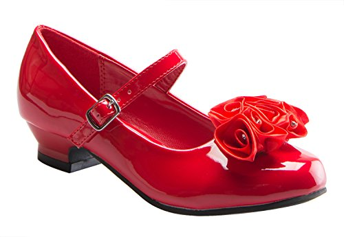 (Mary Jane Shoes with Pretty Satin Rolled Rosettes Patent Leather-Red-9-(LA5216))