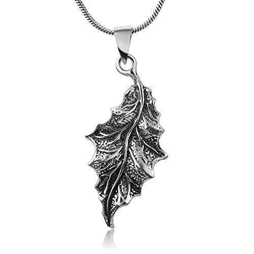 Secret of the Wood Sterling Silver Detailed Oak Tree Leaf Pendant Necklace w/Snake Chain 18