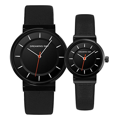 Valentines' Unisex Black Pair Wrist Watches,Romantic His and Hers Simple Casual Wristwatches for Men Women,Genuine Leather Strap Set of - Watch Hers Set