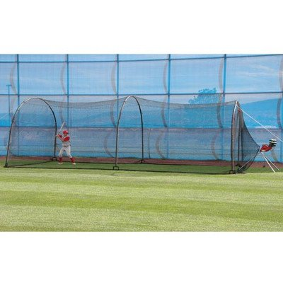 - HEATER SPORTS Xtender 30' Baseball and Softball Batting Cage Net and Frame, With Built In Pitching Machine Harness For Safety (Machine NOT Included)