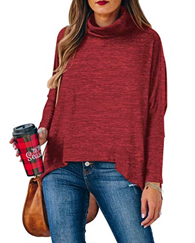 WEKILI Women's Color Block Long Sleeve Tunic Tops Crew Neck Sweatshirt Pockets Loose Casual Blouse Shirts