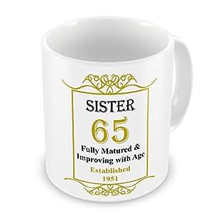 Hermana 65th establecido cumpleanos 1951 años - oro taza