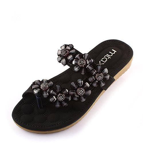 Flower Black Shoes comfortable EU37 Club Party CN37 Casual White Black amp; Black 5 Evening Color Women's Flat Spring Sandals Heel Size Rhinestone PU Dress Stylish UK4 Summer 4 qI6R6w