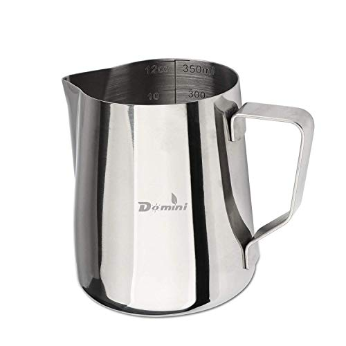 Domini Milk Frothing Pitcher Stainless Steel Metal 12 oz -For Milk Frothers, Espresso Cappuccino Coffee, Creamer,Steaming,chef,motta (Measurement - Milk Metal
