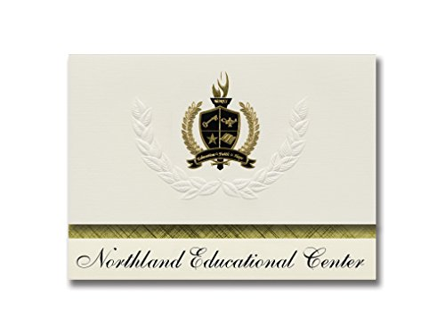 Signature Announcements Northland Educational Center (Grand Rapids, MN) Graduation Announcements, Presidential style, Basic package of 25 with Gold & Black Metallic Foil - Centre Northlands