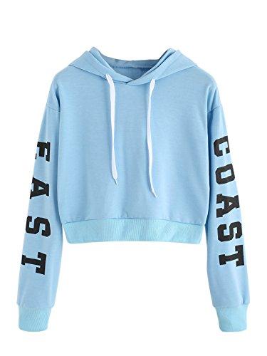 Blue Sweatshirt Top (MakeMeChic Women's Letter Print Long Sleeve Crop Top Sweatshirt Hoodies Blue M)