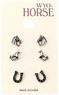 6fa1e18c1 Amazon.com: 925 Sterling Silver Horse Symbol of success Stud ...