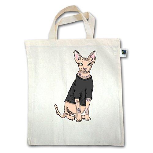 Katzen - Tattoo Sphynx-Katze - Unisize - Natural - XT500 - Jutebeutel kurzer Henkel