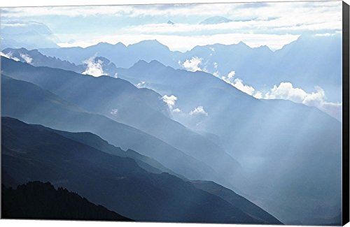 Himalayan Mountains by Tai Prints Canvas Art Wall Picture, Museum Wrapped with Black Sides