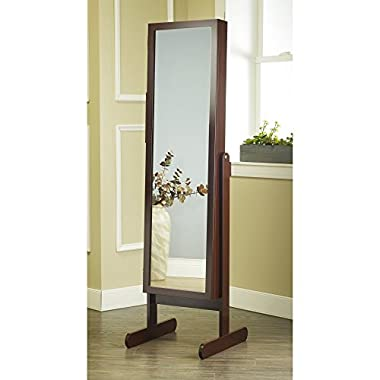 Plaza Astoria Free Standing Jewelry Armoire Cabinet Style Jewelry Armoire with Adjustable Stand, Full Dressing Mirror & Vanity Mirror for Bracelets, Necklaces, Rings, Earrings and More, Cherry Finish