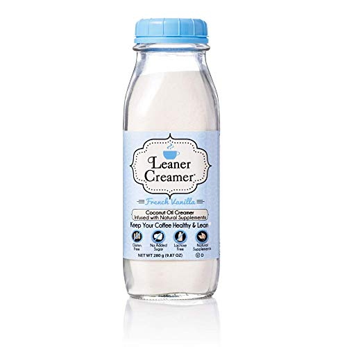 Leaner Creamer, Non-Dairy Coffee Creamer - Sugar Free, Low Calorie, Coconut Oil, Paleo, Keto, Gluten Free, Healthy Weight Loss, Fat Burning. 9.87oz Bottle (French Vanilla)