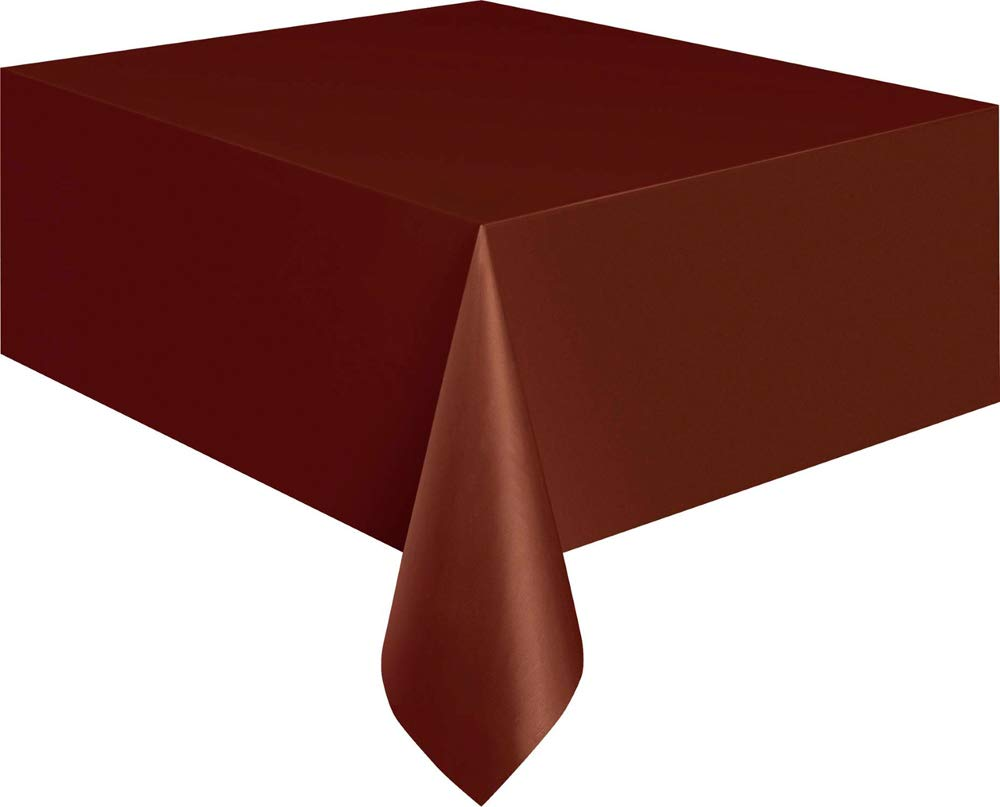 Brown Plastic Tablecloth, 108'' x 54''
