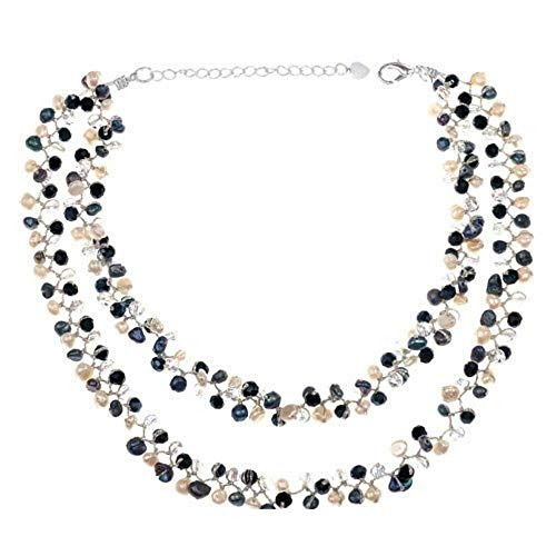 (Silk Thread and Genuine Black White Cultured Freshwater Pearl Strand Cluster Necklace, 16-18 inches)