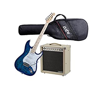 Monoprice Guitar Starter Kit - Includes 15Watt Tube Amplifier with Celestion Speaker & Spring + Indio Cali DLX Quilted Maple Top Electric Guitar With Gig Bag - Blue Burst (Bundle)