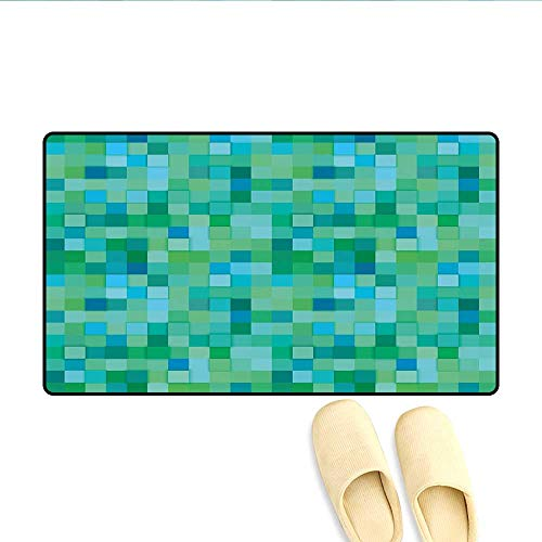 - Bath Mat 3D Cube Pattern Abstract Squares Vibrant Colored Geometric Shapes Design Modern Door Mat Small Rug Sea Green Blue 20