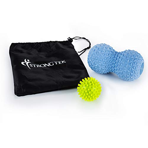 Massage Lacrosse Balls for Myofascial Release, Peanut Massage Ball | Trigger Point Therapy, Muscle Knots, Spike Foot Massager and Yoga Physical Therapy Roller | Set of 2 Balls with Carry Bag