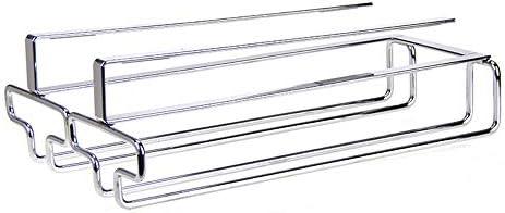 ゴブレットホルダー キャビネットのステンレス鋼ハンガー収納棚の下のワイングラスホルダー脚付きラック ワイングラスホルダー (Color : Silver, Size : 26*22*7cm)