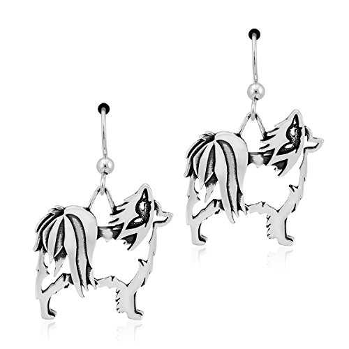 Sterling Silver Papillon Dog Earrings on French Wires with Butterfly Ears
