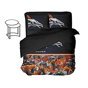 Image of Ancofan 3D Print Denver City Bedding Sheet Football Fan Modern Pattern Bed Sets Twin (Style, Queen-4pcs) Home and Kitchen