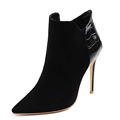 Fashion Warm Women Thin Suede Shoes Zipper Heels Boots Pointed Leather Ankle BLACK Short 36 High Side 1wxqCwt