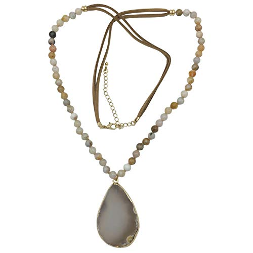 Gypsy Jewels Long Natural Stone Agate Slice Faux Suede Necklace - Assorted Colors (Brown Mix)