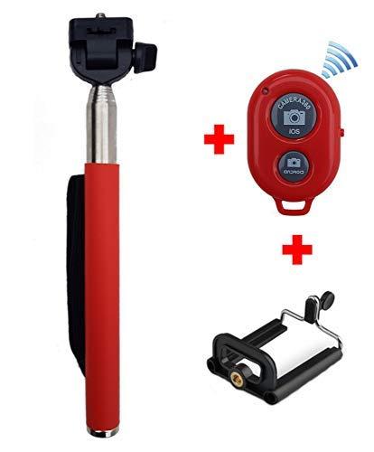 Bluetooth Remote付きTracker Selfie Stick Red   B07H1J69DZ