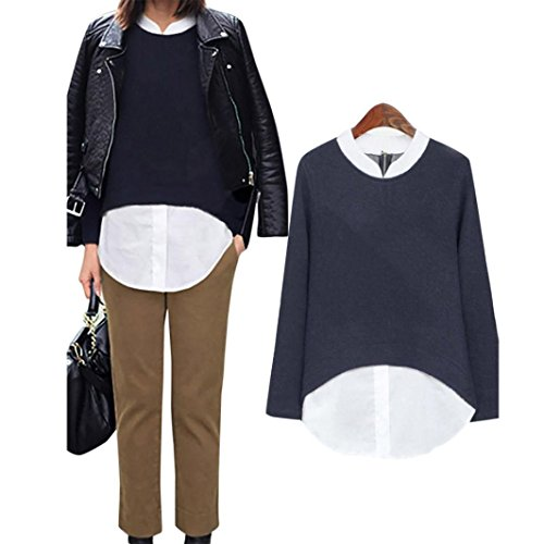 Toimoth Women Plus Size Loose Pullover Long Sleeve Crop Shirt Tops Blouse (Navy,XXXXXL)