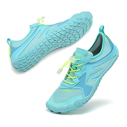 Coolloog Women Men Aqua Shoes Quick Dry Water Shoes Outdoor Indoor Shoes for Beach Swim Yoga Boating Kayaking Diving Moonlight 40
