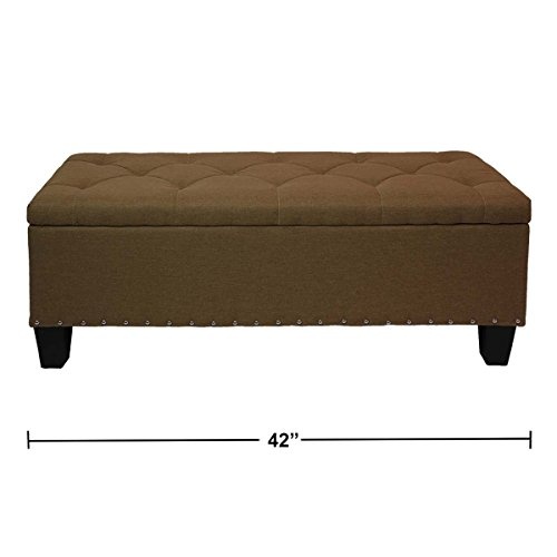 Magshion Rectangular Storage Ottoman Bench Tufted Footrest Lift Top Pouffe Ottoman, Coffee Table, Seat, Foot Rest, and More 42 , Linen Coffee