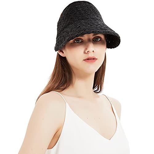 Pallivare Women Foldable Roll Up Sun Straw Hats Beach Wide Brim Loop Visor for Summer Black