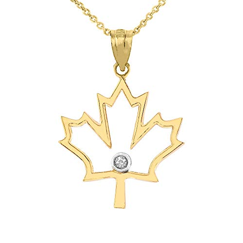 14k Yellow Gold Solitaire Diamond Canada Maple Leaf Outline Pendant Necklace, 16