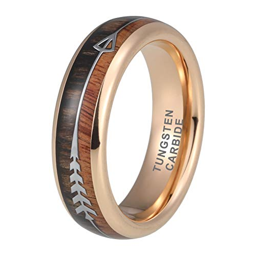 (iTungsten 6mm Womens Tungsten Rings Mens Rose Gold Wedding Bands Koa Wood Arrow Inlay Hunting Jewelry)