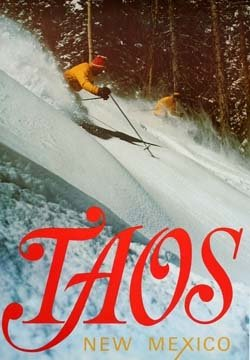 Taos Original Ski Poster 1960's Powder Day