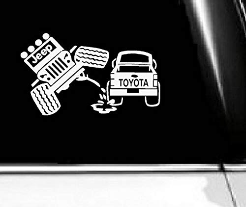 Jeep Peeing On Toyota Decal, Jeep Decal, Dont Follow Me You Wont Make It Sticker