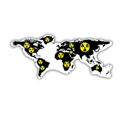 Nuclear Worst Case World Maps Globe Atlas worldwide Germany Russia America Africa military badge emblem for Audi A3 BMW VW Golf GTI Mercedes (15x6,5cm) - Sticker Wall Decoration ()