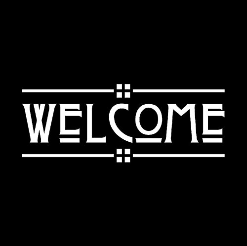 Welcome - Craftsman Style Door Decal (Matte White)