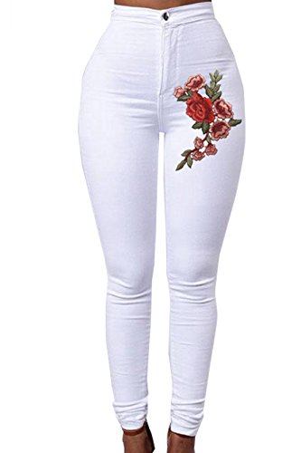 Black Pencil Women Jeans me High Floral Ripped Applique Embroidered Stretch Denim Waist Harri PX75qwZnx5