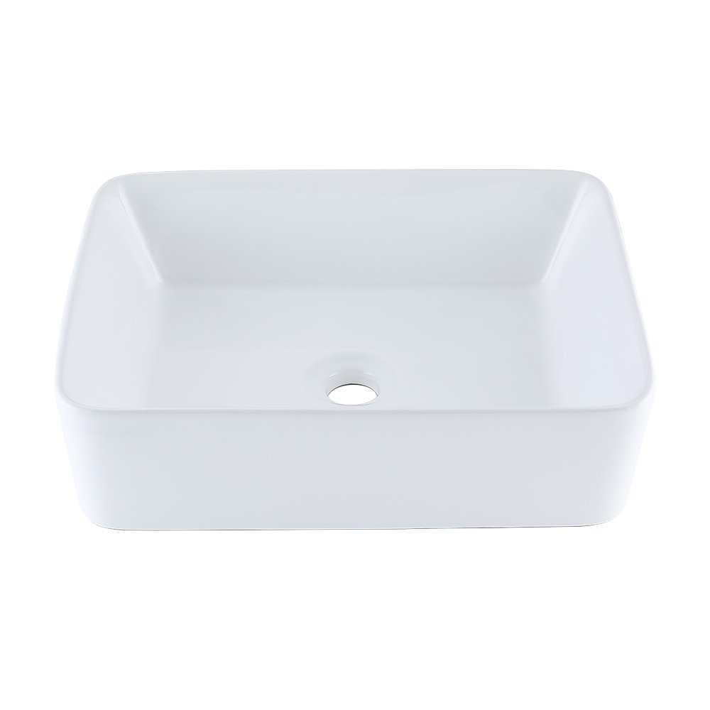KES Bathroom Rectangular Porcelain Vessel Sink Above Counter White Countertop Bowl Sink for Lavatory Vanity Cabinet Contemporary Style, BVS110 by Kes