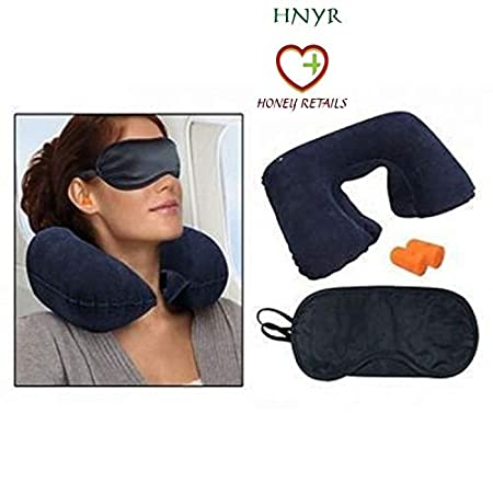 HONEY RETAILS 3 in 1 Air Travel Kit Combo of Pillow, Ear Buds and Eye Mask  Multicolour  Travel Pillows