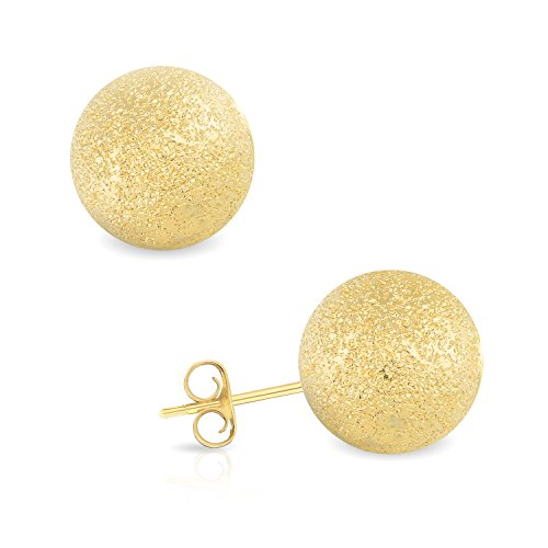 14k Yellow Gold 9MM Laser Cut Ball Stud Earrings by GotJewelry