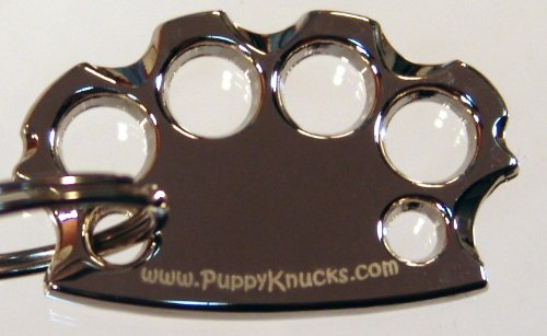 - PuppyKnucks Brass Knuckles Pet Id Tag ENGRAVEABLE (Chrome, No Engraving Needed)