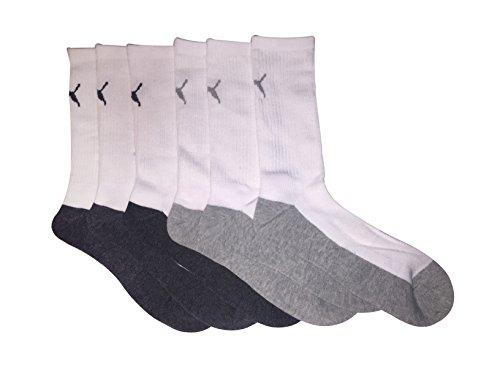 Puma Men's Athletic Cushioned Crew Socks 6 Pairs, White/Heather Grey, Shoe Size 6-12