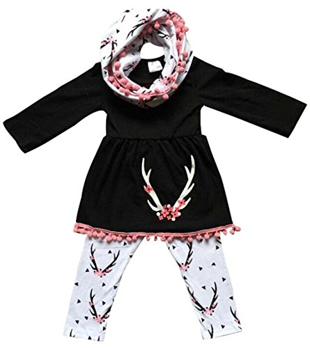 EGELEXY Baby Girls Unicorn Clothing Children Cute Tops Skirt + Long Pant -