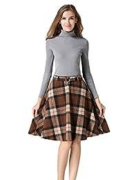 Tanming Women's High Waisted Wool Check Print Plaid Aline Skirt