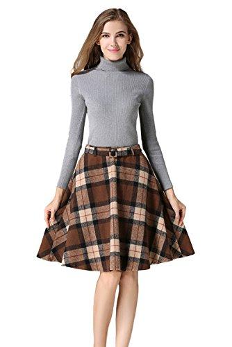 Tanming Women's High Waisted Wool Check Print Plaid Aline Skirt (X-Large, Khaki)
