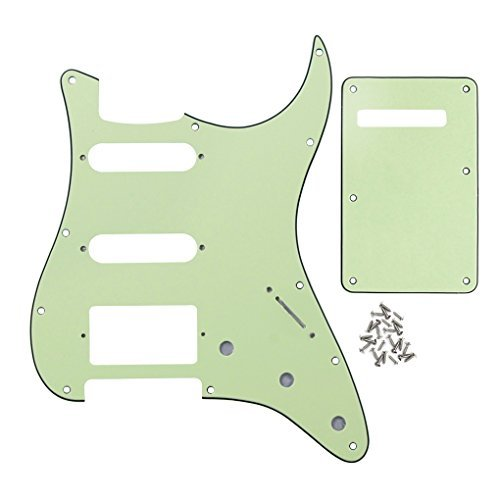 IKN 3Ply Mint Green 11 hole Strat HSS Pickguard Guitar BackPlate with Screws Set for Standard Strat Modern Style Guitar Part (Only Backplate Knob)