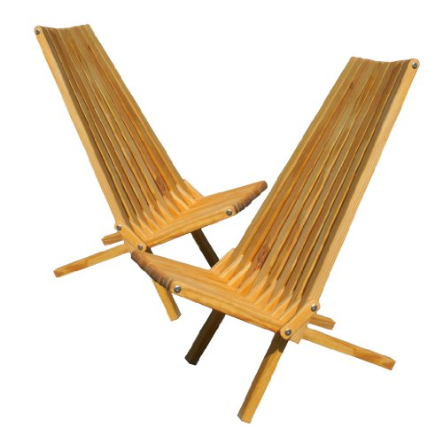 Office Teak Chair (GloDea X45P1VAS2 Lounge Chair, Varnish, Set of 2)