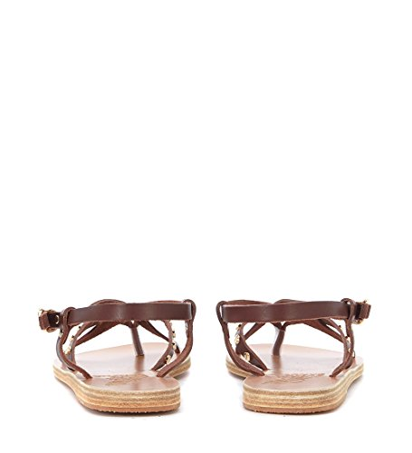Ancient Greek Sandals Women's Semele Brwon Leather Sandal with Studs Brown o7yka